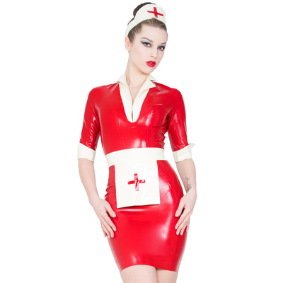 Nurse Lucy Latex Costume Red