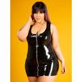 Latex Rubber Silver Zip Vest Dress - Plus Size