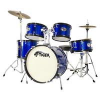Tiger 5 Piece Junior Drum Kit - Drum Set for Kids in Blue