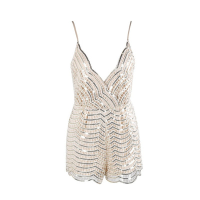 Nazz Collection Febe Nude Signature Sequin Playsuit