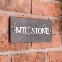 Slate House Sign 1 line 25.5 x 10cm - smooth slate