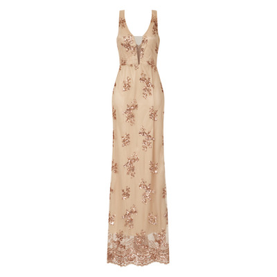 Nazz Collection Adele Rose Gold Plunge Floral Sequin Back Slit Maxi Dress