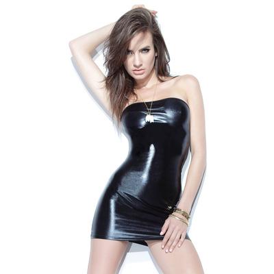 Wet-Look Stretch Tube Dress