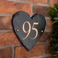 Heart Shaped Rustic Slate House Number personalised with your number
