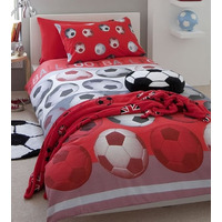 Catherine Lansfield Kids Football Double Duvet Set Red