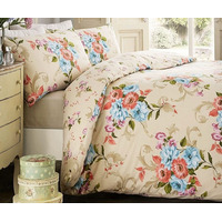 Ella, Vintage Floral Single Bedding - Natural
