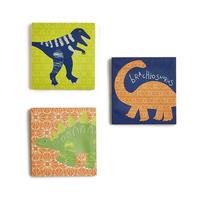Dino Doodles Canvas Art - Set of 3