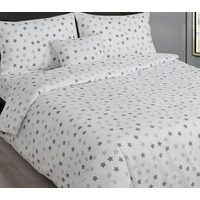 Grey and White Stars Single Bedding