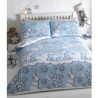 Mountain Snow, Christmas Themed Single Bedding - Blue