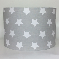 Big White Stars, Grey Large Fabric Light Shade