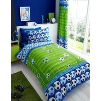 Football Pitch Single Bedding - Blue