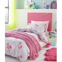 Catherine Lansfield Flamingo Cotton Rich Single Duvet Set Grey