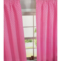 Pink Polka Dot, 100% Cotton Curtains 46 x 54