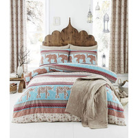 Catherine Lansfield Elephant Easy Care Single Duvet Set Multi