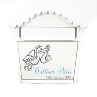 Personalised New Baby Letterbox With Blue Letters