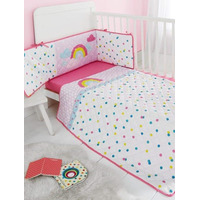 Rainbow 3 Piece Cot Bale - Coverlet, Fitted Sheet and Bumper