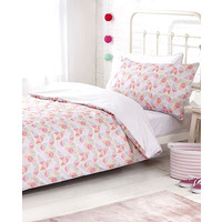 Girls 3 Piece Single Bedding Set With Fitted Sheet. Pink Grid, 100% Anti-Bacteri