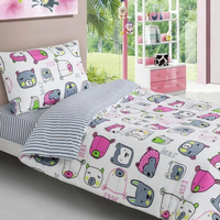 Animal Faces Single Fitted Sheet 100% Cotton