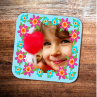 Colourful Flower Frame Photo Coaster