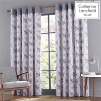 Catherine Lansfield Retro Floral Eyelet Curtains 90 x 90 Inch - Heather