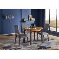 Precia Oak And Graphite Round Wooden Extending Dining Table 100cm-200cm