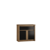 Andrella 95cm Small Oak And Black Gloss Sideboard