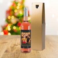 Christmas Tree Photo Upload Bottle Of Rosé Wine