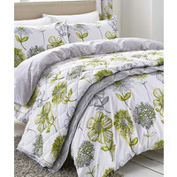 Catherine Lansfield Banbury Floral Duvet Green - King Size