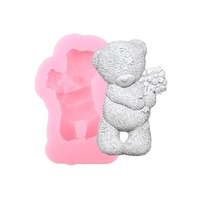 Small Silicone Mould - Teddy with Flower (1pc)