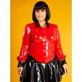 Latex Rubber School Mistress Blouse - Red - Plus Size