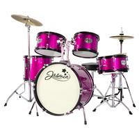 Jasmin 5 Piece Junior Drum Kit - Drum Set for Kids in Pink