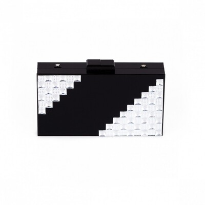 Nazz Collection Paris Black Acrylic Diamonte Evening Box Clutch Bag