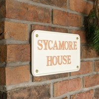 Aluminium Rectangle House Sign 30 x 17.5cm - cream