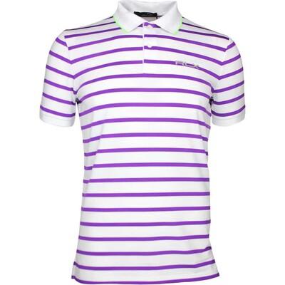 RLX Golf Shirt Striped Airflow Pure White Purple SS17