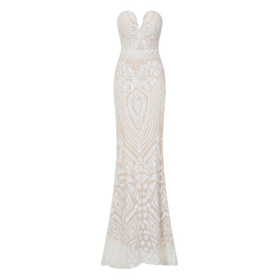 Nazz Collection Kenza White Luxe Sweetheart Plunge Sequin Embellished Fishtail Dress