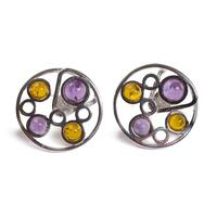 amber-silver-amethyst-round-dotted-stud-earrings