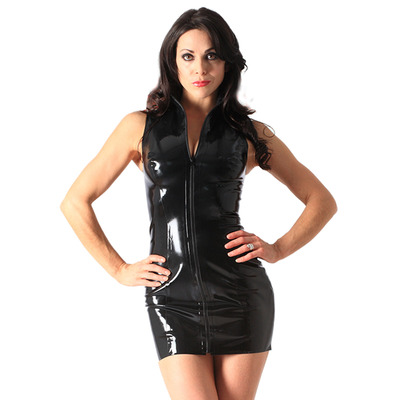 Black Latex Rubber Front Zip Polo Dress