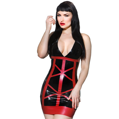 Allure V Neck Halter Latex Dress