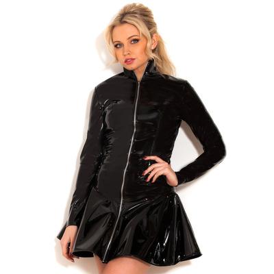 PVC Hot Chick Zip Dress Black