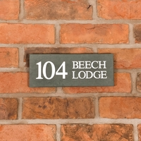 Smoky Green Slate Address House Sign 25.5 x 10cm
