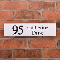 Granite Address Sign 40.5 x 10cm with sandblasted and painted