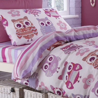 Catherine Lansfield Owl Single Duvet Set Pink