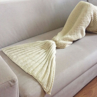 Girls Mermaid Tail Blanket - Cream