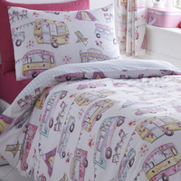 Glamping, Camper Van, Girls, Single Bedding Set