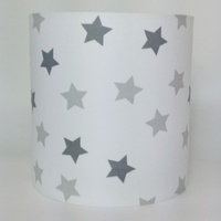 Multi Grey and White Stars, Medium Fabric Light Shade