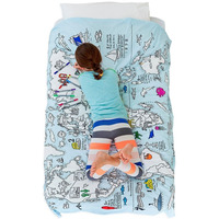 Doodle World Map Single Bedding, inc wash out pens - 100% Cotton