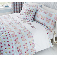 Catherine Lansfield Embroidered Butterfly Reversible Super King Duvet Cover Set