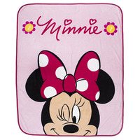 Minnie Mouse Coral Fleece Blanket - Flowers