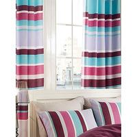 Textured Purple Stripe Eyelet Curtains 72s