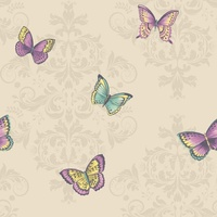 Damask Butterflies Wallpaper - Cream